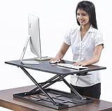 vertical desk fan - Table jack Standing desk converter - 32 X 22 inch Extra large Ergonomic height adjustable sit stand up desk converter that can act as a desk riser adaptable for a dual monitor setup