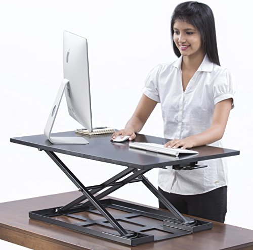 Table jack Standing desk converter - 32 X 22 inch Extra large Ergonomic height adjustable sit stand up desk converter that can act as a desk riser adaptable for a dual monitor setup by Basic Support