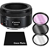 Canon EF 50mm f/1.8 STM Lens Bundle for Canon DSLR Cameras