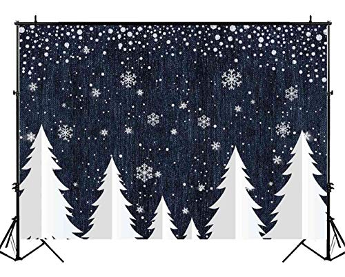 - Funnytree 7X5ft Denim and Diamonds Christmas Tree Backdrop Winter Snow Sprinkle Photography Background Glitter Sparkle Girl Party Banner Baby Portrait Photobooth Photo Studio Props