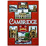 Red Cambridge Tea Towel Souvenir Gift Gargoyles Kings College Trinity Emmanuel Bridge of Sighs Punting by Elgate