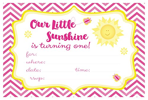 1st Birthday Invite - Our Little Sunshine First Birthday Party Invitations - Fill In Style (20 Count) With Envelopes