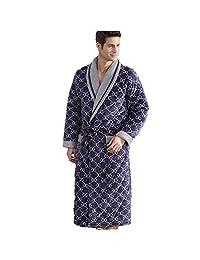 DMMSS Men 's Pajamas Laminated Home Cotton Thicker Warm Bathrobes Nightgown , xxl
