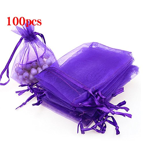 Boshen 100/200PCS Organza Gift Candy Sheer Bags Mesh Jewelry Pouches Drawstring Bulk for Wedding Party Favors Christmas 3
