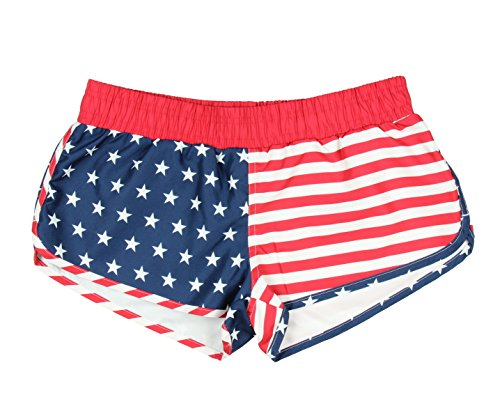 Calhoun USA American Flag Womens Printed Shorts (Large)