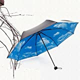 C.A.Z. Womens Mens Couple Style Natural Blue Sky and Cloude Painting Print Campacting Foldable Sun Rain Super Anti UV Travel Umbrella Large Canopy for Two People