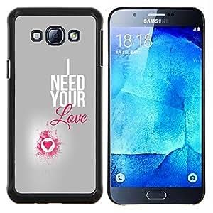 """Be-Star Único Patrón Plástico Duro Fundas Cover Cubre Hard Case Cover Para Samsung Galaxy A8 / SM-A800 ( I Need Your Love Pink Heart Plata Texto"""" )"""
