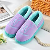 Aemember Bag Of Cotton Slippers With Couples Home Soft Thick Bottom Bottom Skid In Winter Indoor Home Furnishing Shoes,38-39 (Fit For 37-38 Feet),Purple (Quan Bao)