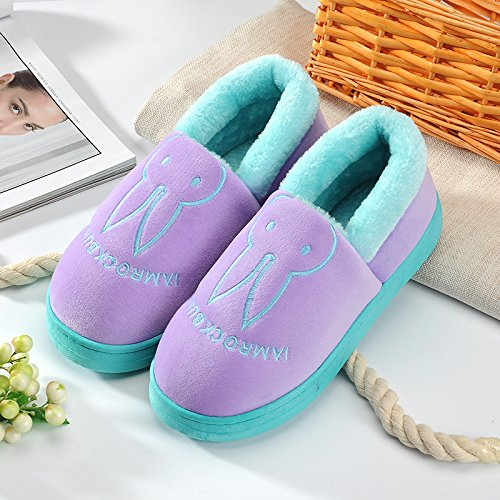 Aemember Bag Of Cotton Slippers With Couples Home Soft Thick Bottom Bottom Skid In Winter Indoor Home Furnishing Shoes,44-45 (Fit For 43-44 Feet),Purple (Quan Bao)