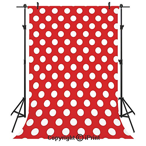 Retro Photography Backdrops,50s 60s Iconic Pop Art Style Big White Polka Dots Picnic Vintage Old Theme Image,Birthday Party Seamless Photo Studio Booth Background Banner 6x9ft,Red and White ()