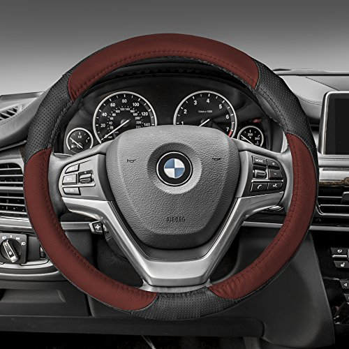 Leather Mercedes Benz Steering Wheel Cover (FH Group FH2001BROWN Steering Wheel Cover (Perforated Genuine Leather Brown))