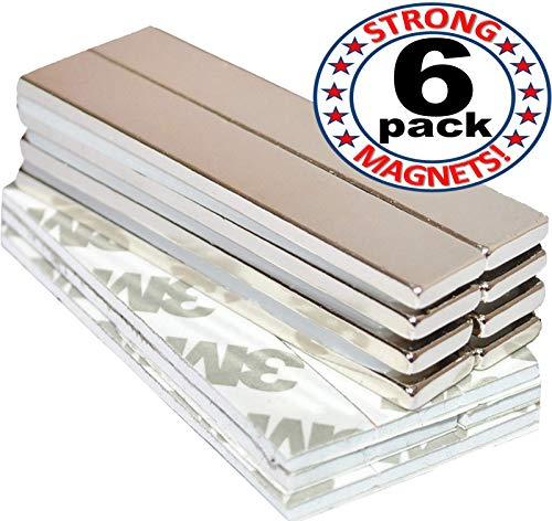 Strong Magnets Rare Earth Neodymium: Bar Super Permanent Metal Rectangular Adhesive, 60x10x3mm, Powerful Pull Force, 6 Piece| Heavy Duty, Fridge Door, Garage, Kitchen, Science, Craft, Art, Office, DIY