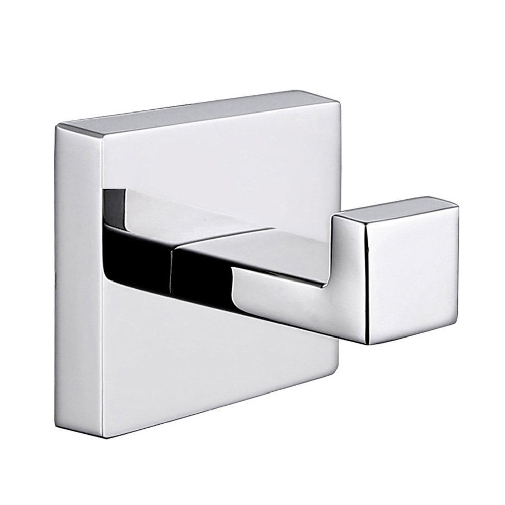 Bath Robe Hook, APLusee SUS304 Stainless Steel Single Towel Hook, Square Utility Hanger Kitchen Balcony Accessories, Chrome