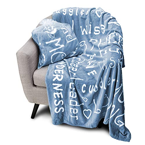 Blankiegram Mother Throw Blanket for Loving, Kind & Inspiring Moms | The Perfect Caring Gift (Blue) (Gifts Mothers Birthday Best For)