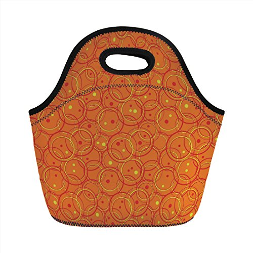 - Neoprene Lunch Bag,Burnt Orange,Circle Patterns in Fashion Trend Colors on Retro Dotted Background Decorative,Orange Yellow,for Kids Adult Thermal Insulated Tote Bags