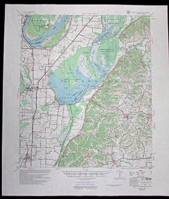 Reelfoot Lake Tennessee Missouri Kentucky vintage 1956 old USGS Topo chart
