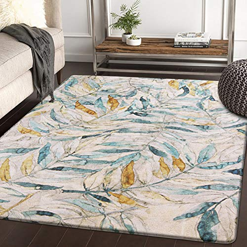 HAOCOO Area Rugs 4'x5' Large Modern Leaves Faux Wool Rugs Super Soft Non-Slip Carpet for Bedroom Living Room