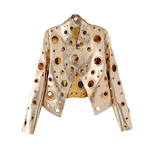 *flower* Womens Faux Leather Eyelet Motorcycle Short Jacket Coat - Jacket Short Trench