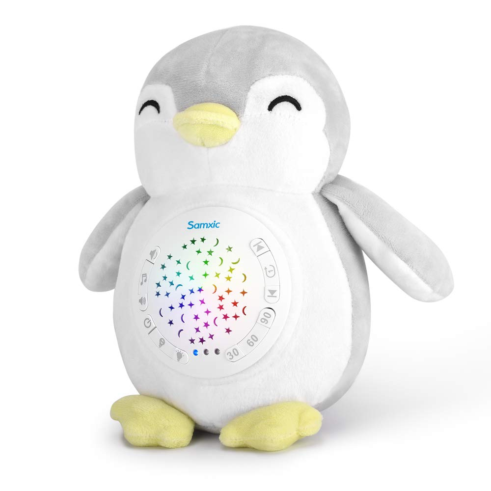 Baby Shower Gift White Noise Sound Machine, ACENZ Baby Sleep Aid Sound Soother & Stars Projection Night Light & Washable Penguin Plush Toy with 12 Soothing Sounds
