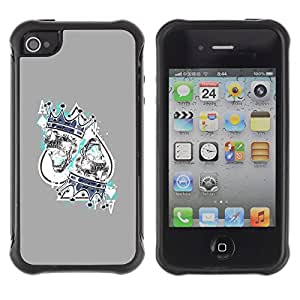 Be-Star único patrón Impacto Shock - Absorción y Anti-Arañazos Funda Carcasa Case Bumper Para Apple iPhone 4 / iPhone 4S ( King Hearts Cards Poker Gambling )