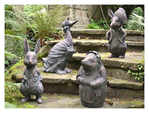 FandG Supplies Superb set of 4 Beatrix Potter Garden Sculptures Statues of Peter Rabbit, Benjamin Bunny, Mrs Tiggy…