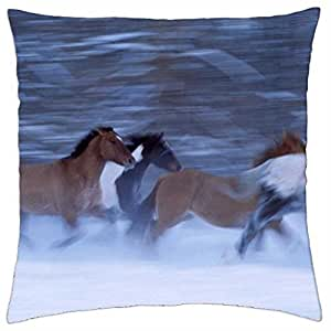 Horses in Motion - Throw Pillow Cover Case (18