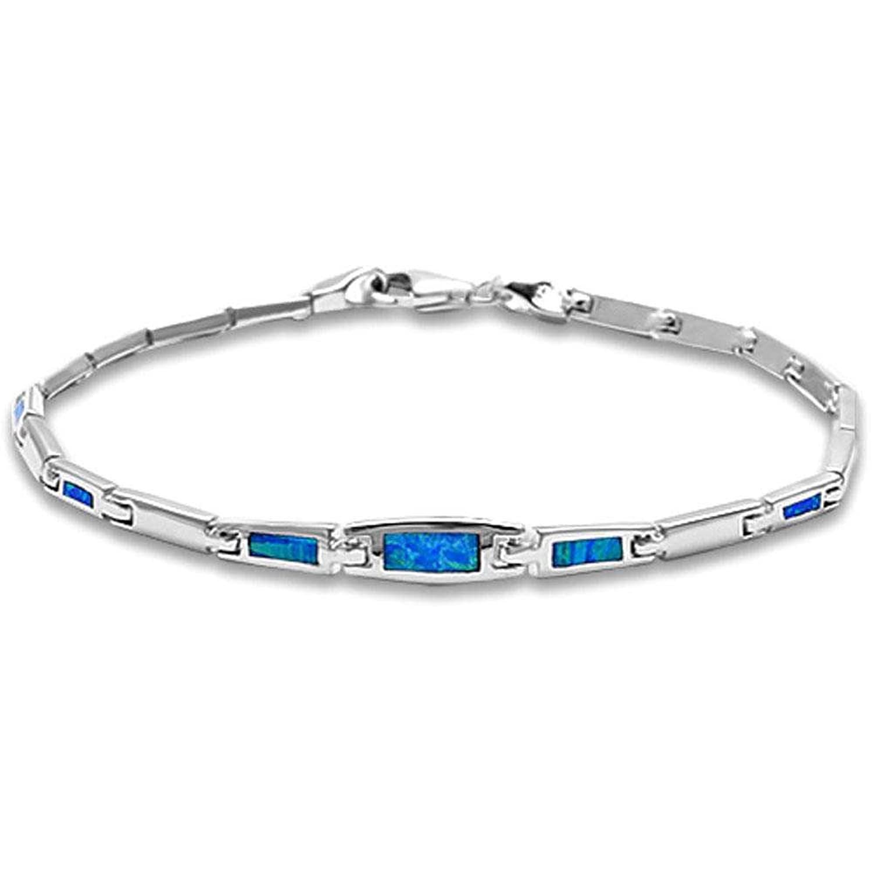 Bezel Style Lab Created Blue Opal .925 Sterling Silver Bracelet