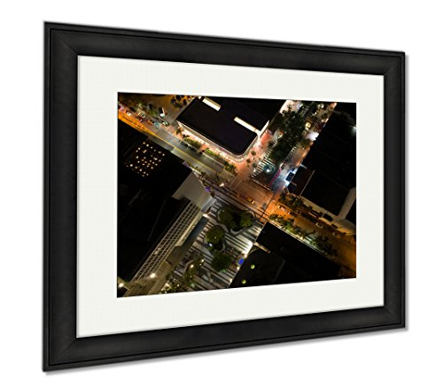 Ashley Framed Prints Drone Photo Lincoln Road Miami Beach, Modern Room Accent Piece, Color, 34x40 (frame size), Black Frame, - Shops Promenade Mall
