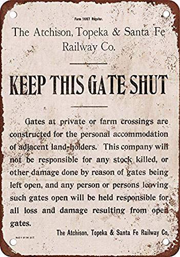 ATSF鉄道はこの門を閉ざします 金属板ブリキ看板警告サイン注意サイン表示パネル情報サイン金属安全サイン