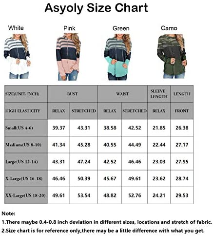 Asyoly Women's Long Sleeve Striped Color Block Casual Hoodies Loose Patchwork Sweatshirt Pullover Tops