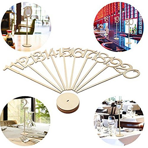 Giga Gud 20pcs (1-20) Wooden Table Numbers on Sticks for for Party Home Decoration Vintage Birthday Event Banquet Anniversary Decor Natural Wooden Catering Reception Table Decoration