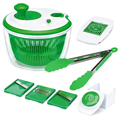 Iseason Salad Spinner, Large Vegetable Washer Dryer with Bowl, Lettuce Washer with Vegetable Chopper, Onion Slicer Food Dicer,5L large Capacity (with Food Clip) ()