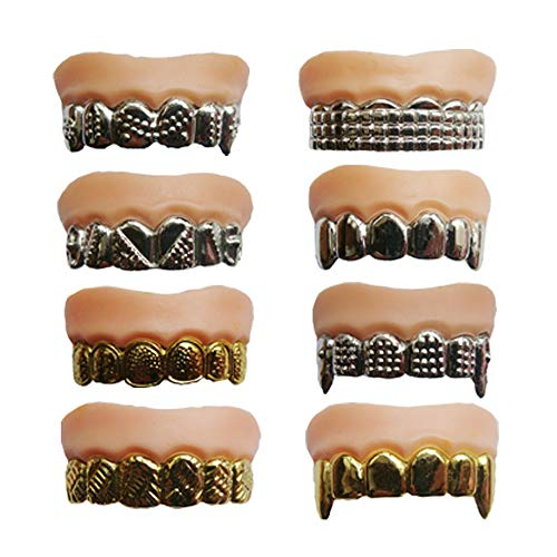 X Hot Popcorn 12 Pcs Funny Gold Teeth Ugly Fake Teeth Prank Toy Plastic Troubled Teeth, for Halloween Christmas Decoration]()