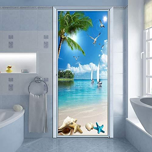 Beach Sea View Door Sticker 3D PVC Self-Adhesive Waterproof Wallpaper Paste Living -