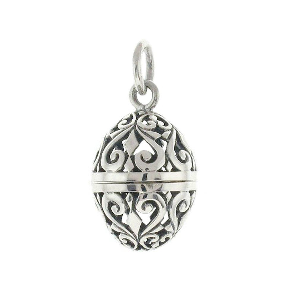 Sterling Silver Filigree Aromatherapy Egg Locket Pendant
