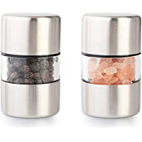 T-mark Premium Sea Salt and Pepper Grinder Set - Spice Mill with Brushed Stainless Steel, Small Portable Ceramic Salt…
