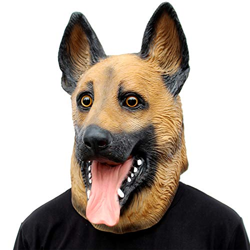 CreepyParty Novelty Halloween Costume Super Bowl Underdog Party Latex Dog Head Mask (German Shepherd)]()