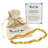 Collar de dentición de ámbar báltico para bebés (Unisex) (Miel) - Dolor anti-inflamatorio, babeo y de dentición. Reducir las propiedades - Joyería Báltica Oval Certificada Natural con la más alta calidad garantizada