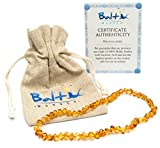 Baby : Baltic Amber Teething Necklace For Babies (Unisex) (Honey) - Anti Flammatory, Drooling & Teething Pain Reduce Properties - Natural Certificated Oval Baltic Jewelry with the Highest Quality Guaranteed.