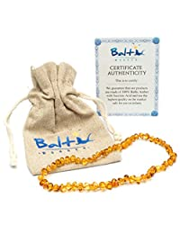 Baltic Amber Teething Necklace For Babies (Unisex) (Honey) - Anti Flammatory, Drooling & Teething Pain Reduce Properties - Natural Certificated Oval Baltic Jewelry with the Highest Quality Guaranteed.