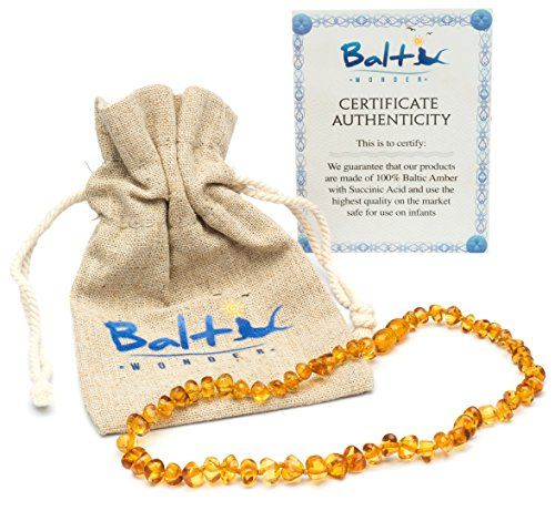 Cognac Baltic Amber Necklace - Baltic Amber Teething Necklace For Babies (Unisex) (Honey) - Anti Flammatory, Drooling & Teething Pain Reduce Properties - Natural Certificated Oval Baltic Jewelry with the Highest Quality Guaranteed