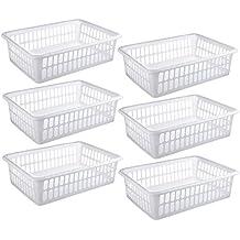"6 Pack - Plastic Storage Organizing Basket, Cabinet Shelf Kitchen Drawer Refrigerator, Freezer Organizer Bins, 15"" x 10"", White"