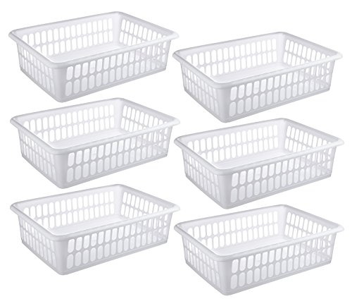 6 Pack - Plastic Storage Organizing Basket, Cabinet Shelf Kitchen Drawer Refrigerator, Freezer Organizer Bins, 15