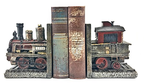 Bellaa 20928 Train Bookends Steam Locomotive Engine 5.5