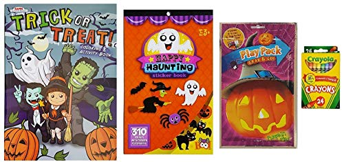 Halloween Activity Set For Kids - Trick or Treat Coloring Book, Sticker Book, Pumpkin Play Fun Activity Pack and Crayola Crayons- 4 Piece Set with Cute Ghosts, Cats, Bats, Dragons, Silly Monsters, Pumpkins, and More