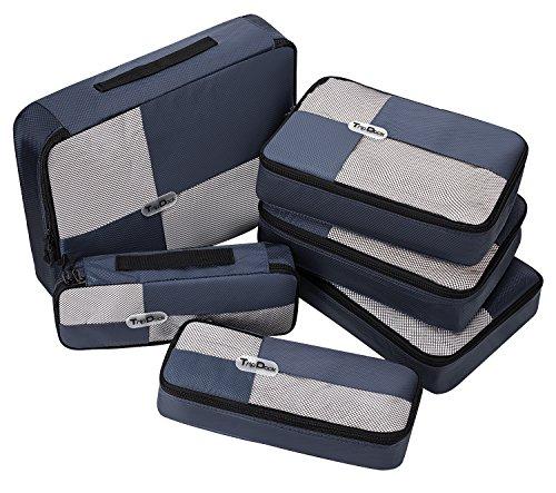 TripDock 6 Set Packing Cubes Travel Luggage Organizers Navyblue 3 Slim