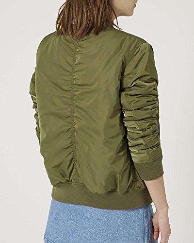 SaiDeng Color Puro Chaqueta Corta Jacket Bomber Punk Estilo Cazadora Biker Para Mujer Verde del ejército
