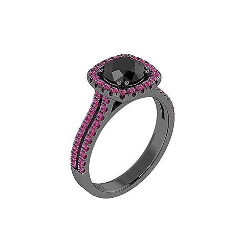 Mejor compromiso anillos de bodas en 2,50 CT negro Zirconia cúbico corte redondo cristal