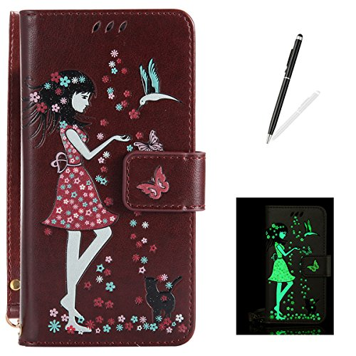 iPhone 5/5S/SE Leather Case Wallet Type [Luminous Effect] KaseHom [Free Black Stylus Pen] Fairy Girl Flowers Birds Cat Butterfly Pattern with Card Slot Flip Magnetic Cover Holster Brown For Sale
