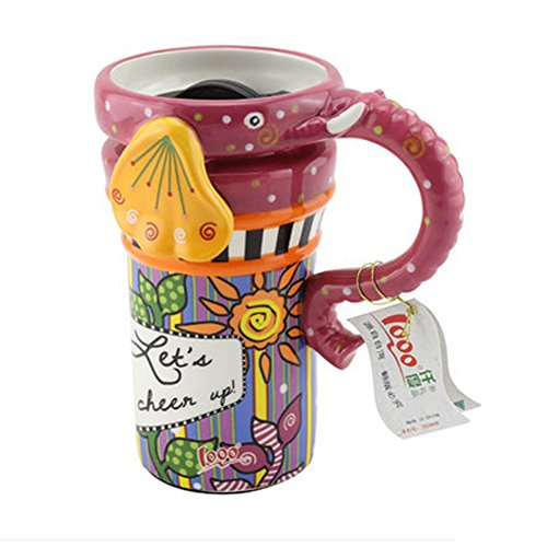 Painted Creative Mug Ceramic Elephant Cup Lid With Spoon, Large Capacity Cup, A